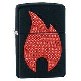 Zippo Red Flame Emblem Pocket Lighter, Black (Flame Red Powder)