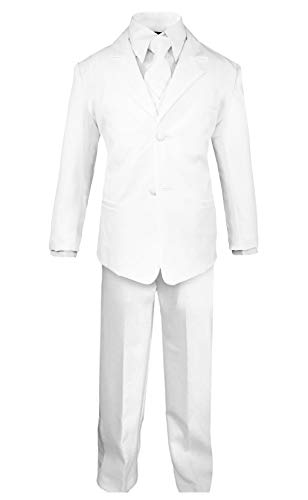 Luca Gabriel Toddler Boys' 5 Piece Classic Fit No Tail Formal White Dress Suit Set with Tie and Vest - Size 7 ()