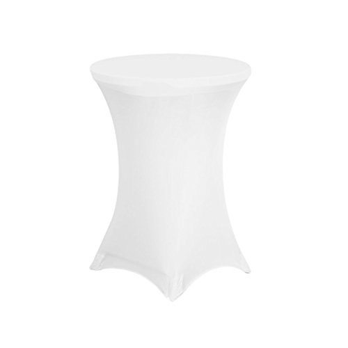 URBY Highboy Cocktail Round Table 32 By 42 Inch Spandex Fitted Stretchable Elastic Tablecloth Table Cover 32'' Diameter x 42'' Height White