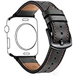 Zeiger 42mm Apple Watch band iWatch Leather Replacement Bands straps for series 1 2 3 dressy classic buckle Men (42mm, Black)