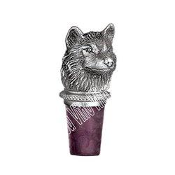 (Wolf Head Pewter Bottle Stopper)