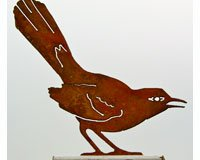 Mockingbird Rusty Garden Sculpture