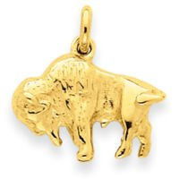 14k Buffalo Charm (14K Yellow (14k Gold Buffalo Charm)