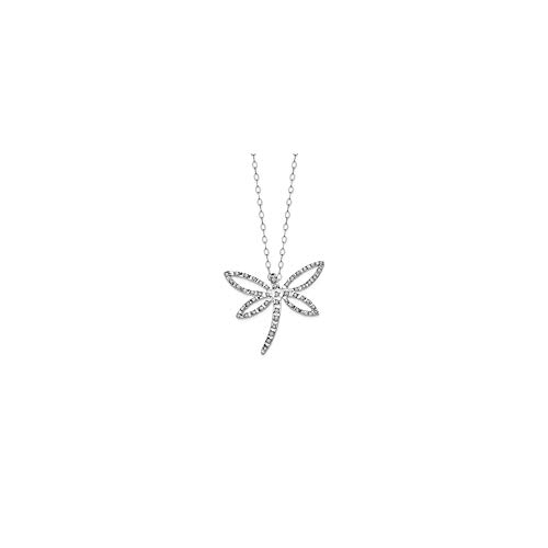 14k White Gold Diamond Fascination 18 Inch Dragonfly Chain Necklace Pendant Charm Animals/insect Fine Jewelry Gifts For Women For ()