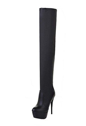 Ginocchio Ginocchio Tacco Nero Plateau Stivale Stivale con sopra Over Heels Boots Slip Moda 12cm Spillo The a High Knee Alto Scarpe YE Donna e On SngxqwCwA
