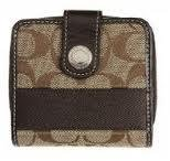 Coach Signature Stripe Medium Wallet With Coin Compartment. Brwn/khaki