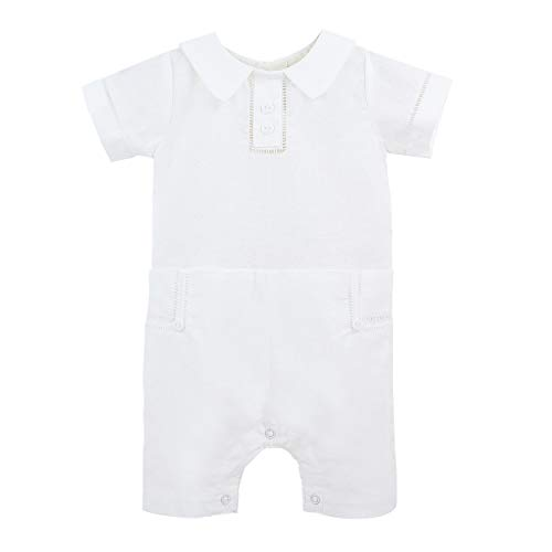 Carriage Boutique Baby Boys Formal and Special Occasion Shortall - Summer Outfit, 18M White
