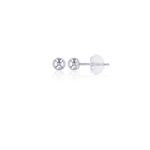 Decadence 14K Gold White 4mm Ball Stud Earrings and 14K Silicone Back, 4 ()
