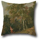 [Oil Painting George Barret - Wooded Landscape With A Boy And His Dog Cushion Covers ,best For Sofa,husband,dance Room,home Theater,her,teens 16 X 16 Inches / 40 By 40 Cm(both] (Boy George 80s Costume)