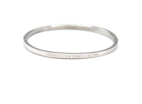 BC2203F - Bracelet Jonc Fin Acier Argenté avec Message Jamais L'Un sans L'Autre