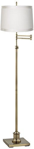 Westbury Off-White Drum Shade Brass Swing Arm Floor Lamp (14 Light Transitional Floor Lamp)