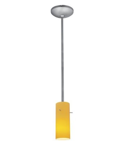 Cylinder Glass Pendant - 1-Light Pendant - Rods - Fluorescent - Brushed Steel Finish - Amber Glass Shade
