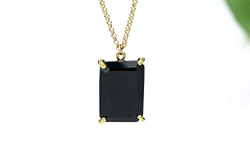 Black Onyx Pendant Necklace, Rectangle Pendant, Gold Necklace, Semiprecious Pendant, Gold Prong Pendant