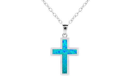 Women Sterling Silver Created Blue Opal Cross Pendant Necklace (Plain) (Opal Inlay Silver Pendant Jewelry)
