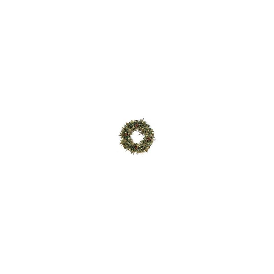 30 Pre Lit Green River Spruce Artificial Christmas Wreath   Clea