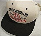 Old School Flat Bill Dale Earnhardt Sr #3 Winston Cup 1994 & 7 Time Champ White & Black With Red, Silver & BLack Lettering On Brow Of Hat Hat Cap OSFM Snapback Strap Nutmeg