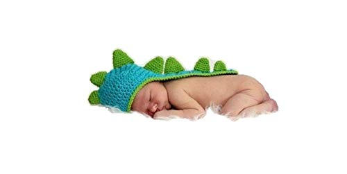 Newborn Baby Girl/Boy Crochet Knit Costume Photo Photography Prop Hats Outfits (Blue Dinosaur)