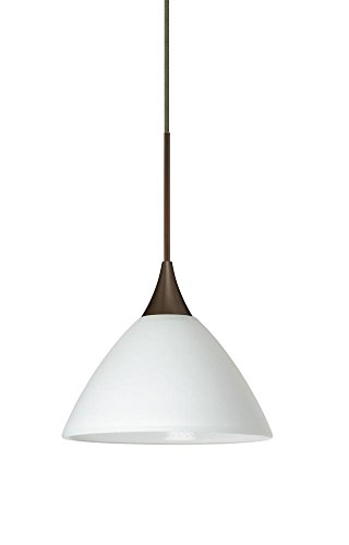 Besa Lighting 1XT-174307-LED-BR 1X6W Led Lightsource Domi Pendant with White Glass, Bronze Finish ()
