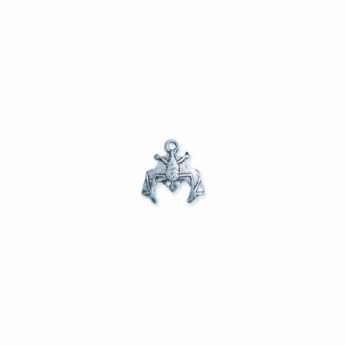 Shipwreck Beads Pewter Bat Charm, Silver, 17 by 17mm, (Bat Charms Pendants)