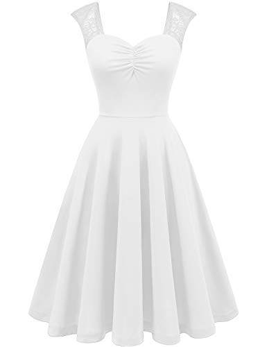 YOYAKER Women's Square Collar Floral Lace Cap Sleeve Casual Work Party Tea A-line Swing Dress White XL