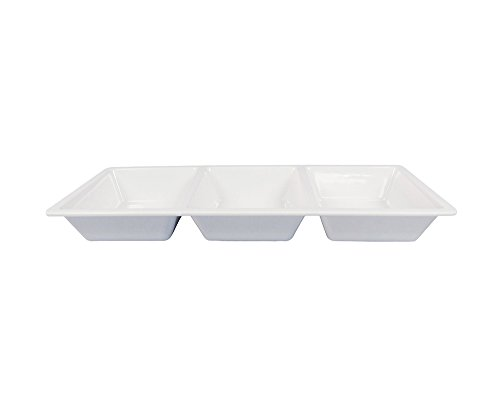 Clever Home Waverly Melamine Serving 3 Section Chip and Dip Serving Platter (Section Dip Bowl)