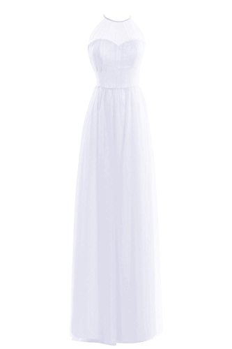 Dora Bridal Women Acute S Halter Tulle Ruched Prom Party Bridesmaid Dress Size 14 Us White