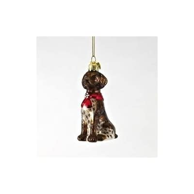 German-Shorthair-Pointer-with-Red-Bow-Glass-Christmas-Ornament