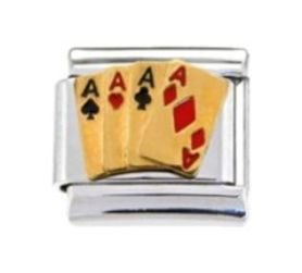9mm Charm 4 Italian Bracelet - ACES FOUR 4 CARDS LUCKY Enamel Italian Charm 9mm - 1 x NC001 Single Bracelet Link