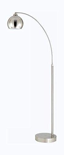 Brushed Steel Single Light 100 Watt Arc Floor Lamp with Metal Shade (Floor Shade Single Lamp)