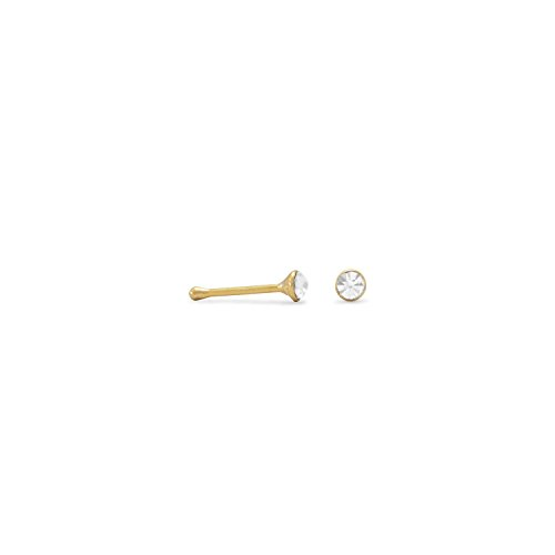925 Sterling Silver 2mm 14 Karat Gold Plate And Cz Nose Stud Nose