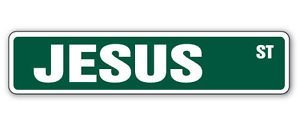 JESUS Street Sticker Sign kids room childrens name gift kid child boy girl wall entry - Sticker Graphic Personalized Custom Sticker Graphic