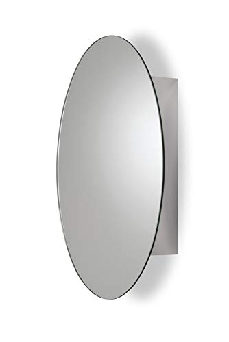 Croydex WC870105AZ Tay Stainless Steel Oval Medicine Cabinet with Over Hanging Mirror -