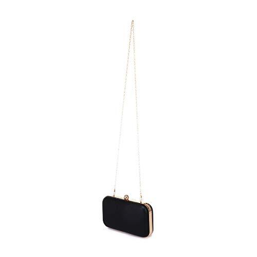 rectangulaire Pochette scintillant rigide La texturé Noir effet avec Modeuse un 1tTAf5qxZw
