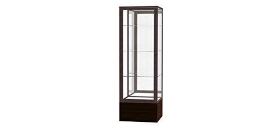Waddell 4024MB-BZ-WV Keepsake 24 x 72 x 24 in. Walnut Aluminum Frame Vinyl Base Floor Display Case44; Mirror Back - Dark - Waddell Vinyl Frame