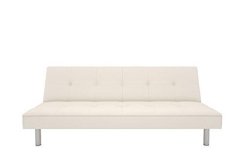 DHP Nola Futon Couch with Tufted Faux Leather Upholstery, Modern Style, White Faux Leather (Small White Leather Couch)
