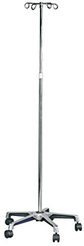 MABIS IV Stand, Adjustable Height, Rolling IV Pole, 5 Two Wheel Casters and 4 Prongs to hold IV Bags, Height Adjusts From 47 to 82 Inches, Silver by Mabis