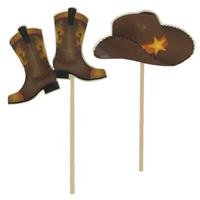 Cowboy Hats & Boots Cupcake Toppers -