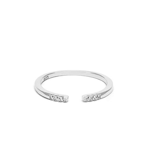 (Jeanne's Jewels Womens 925 Sterling Silver Avery Stackable Wedding Band Ring 1.5mm (White Gold, 5/6))