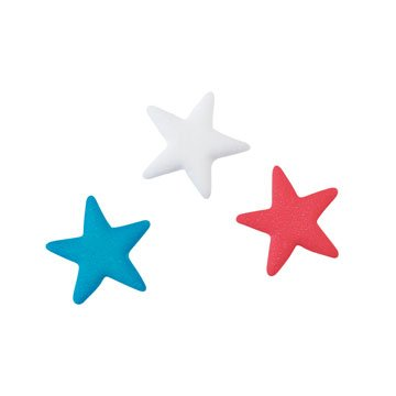Patriotic Food - Patriotic Stars Red White Blue Stars Sugar Decorations Cookie Cupcake Cake 12 Count