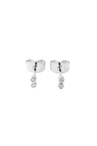 HONEYCAT Tiny Double Crystal Stud Earrings in Rhodium Plate | Minimalist, Delicate Jewelry (Silver)