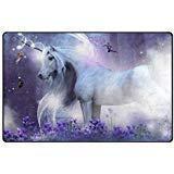 Cooper girl Unicorn in the Forest Area Rug 60x39 Inches Indoor Outdoor Mat -