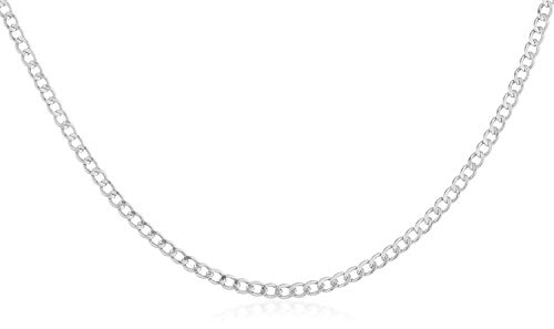 - 14K Yellow Gold 2.0mm Cuban/Curb Link Chain Necklace- Made in Italy-16-30- Yellow, White Or Rose Gold (White, 30)