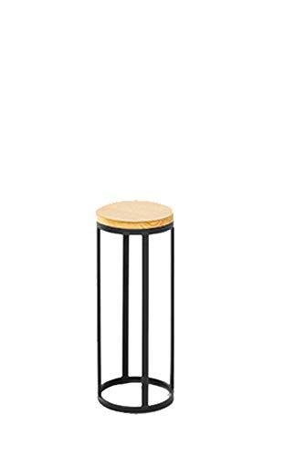 Huayuan Nordic Modern Minimalist Wrought Iron Solid Wood Floor Flower Stand Living Room Bedroom Round Flower Several Metal Craft Flower Stand (Color : Black, Size : S)