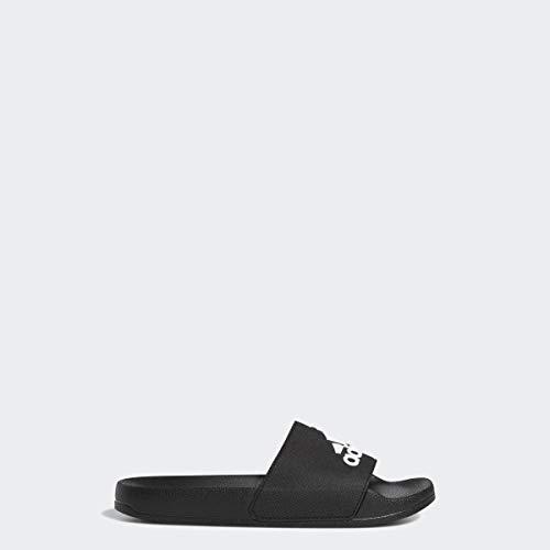 adidas unisex-child Adilette Shower Sandal, Black/white/Black, 4 M US Big Kid