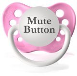 Personalized Mute Button Pacifier Paci Binky (Pink)