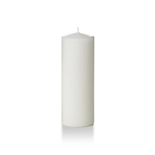 Yummi 3 x 8 White Round Pillar Candles - 3 per pack