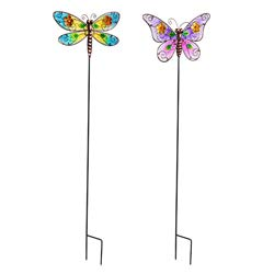Evergreen Garden Butterfly Glass and Metal Garden Stakes, Set of 2
