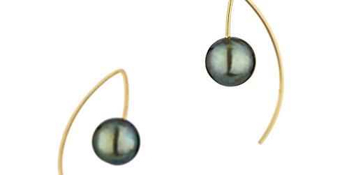 Melissa McArthur Boucles d'oreilles percées perle bleue et argent 925 vermeil, 4.6g