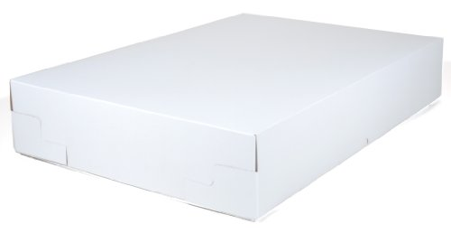Southern Champion Tray 1060 Premium Clay Coated Kraft Paperboard 2-pc White Non-Window Sheet Cake and Utility Box, 25'' Length x 17'' Width x 4-1/2 Height (Case of 25 Complete Sets - Top and Bottom) by Southern Champion Tray