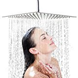 Shower Head, Gintenco High Pressure Rainfall Large 12 Inch Waterfall Rain Shower Heads 360 Degrees Adjustable Polished Chrome Finished Showerheads with Silicone Nozzle for Bathroom